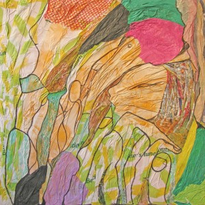 Drei Grazien, Collage (Seidenpapier auf Katon) 60x60cm