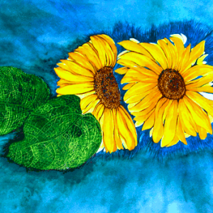 Sonnenblumen im Blau, 50x60cm