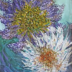 Blumen blau weiß, Collage, 43x55 cm