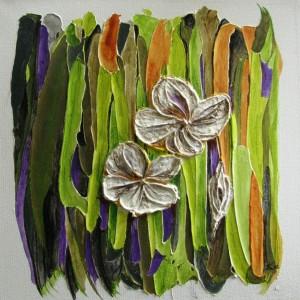Weisse Blumen, 40x40 cm