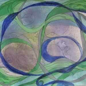 abstrakt, blau/grün, 20x30 cm