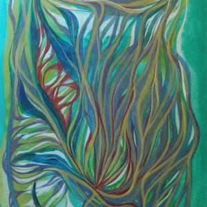 Florale Linien,40x80 cm,acryl