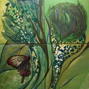 Schmetterling/butterfly, 4teilig, acryl, 60x60 cm