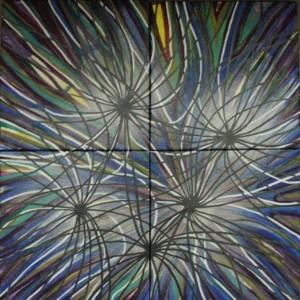 Vernetzung der Welt, acryl, 60x60 cm, 4 Teile