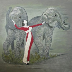 Dame mit Elefanten, 80x80 cm, Acryl auf Keilrahmen