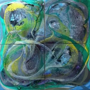 auf der Suche, 80 x 80 cm, Acryl auf Keilrahmen