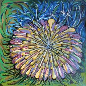 Dalie, Acryl auf Keilrahmen, 70x70 cm