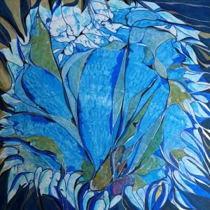 Eisblumen, Acryl auf Karton, 60x60 cm