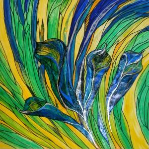 blaue Calla, Acryl auf Karton, 60x60 cm