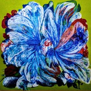 drei Blumen, Acryl auf Karton, 60x60 cm