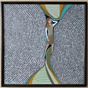 zwischen den Zeilen, Mischtechnik auf Keilrahmen, 60x60 cm