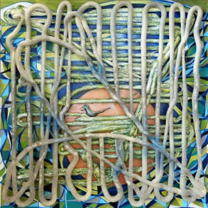Nestbau, 80x80 cm, Mixed media