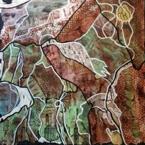 Schlangenvogel, 60x60 cm, Collage