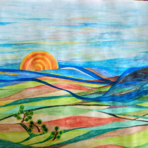 landscape abstract, aquarel